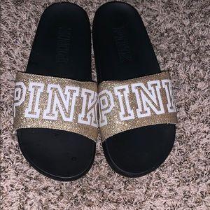 Pink VS gold slides for only $10💕